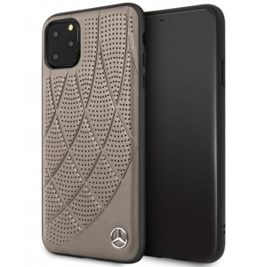 Mercedes Benz Perforated Quilted Echtes Lederhülle iPhone 11 Pro Braun MEHCN58DIQBR