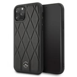 Mercedes Benz Quilted Echtes Lederhülle iPhone 11 Pro Max Schwarz