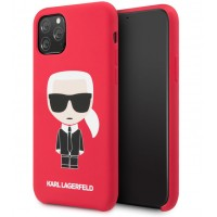 Karl Lagerfeld Silicone Hülle Karl Iconic iPhone 11 Pro Max Rot KLHCN65SLFKRE