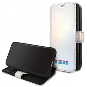 Guess Iridescent Ledertasche iPhone 11 Pro Silber GUFLBKN58BLD