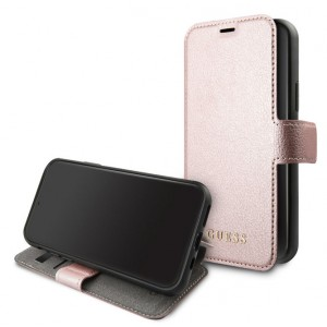 Guess Iridescent Ledertasche iPhone 11 Pro Rose Gold GUFLBKSN58IGLRG
