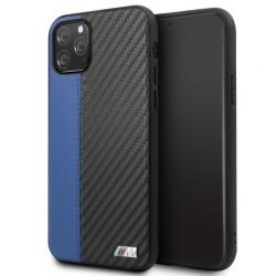 BMW M Serie Contrast Strip Carbon / Lederhülle iPhone 11 Pro Max Schwarz / Blau BMHCN65MCARBL