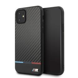 BMW M Carbon / Leder Hülle iPhone 11 Pro Max Schwarz BMHCN65PUCARTCBK