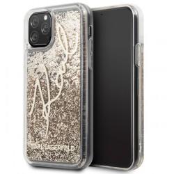 Karl Lagerfeld Karl Signature Hülle Glitter iPhone 11 Pro Max Gold
