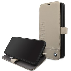 BMW Ledertasche iPhone 11 Pro Max Signature Logo Imprint Taupe