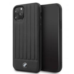 BMW Lederhülle Stamped Lines iPhone 11 Echtes Leder Schwarz BMHCN61POCBK