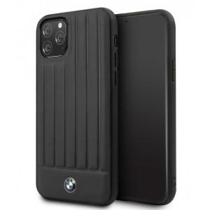 BMW Lederhülle Stamped Lines iPhone 11 Pro Max Echtes Leder Schwarz BMHCN65POCBK