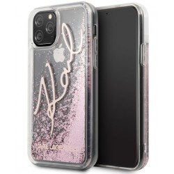 Karl Lagerfeld Karl Signature Hülle Glitter iPhone 11 Pro Max Rose KLHCN65TRKSRG