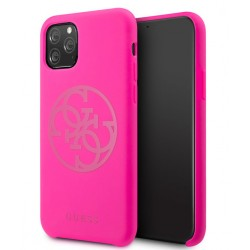 Guess 4G Silicon Collection Print Logo Hülle iPhone 11 Pro Max Pink GUHCN65LS4GFU