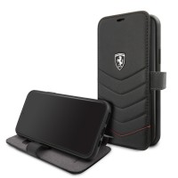 Ferrari Quilted Ledertasche / Book Case iPhone 11 Pro Max Schwarz FEHQUFLBKSN58BK