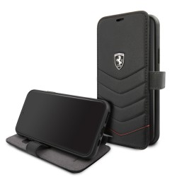 Ferrari Quilted Ledertasche / Book Case iPhone 11 Schwarz FEHQUFLBKSN61BK