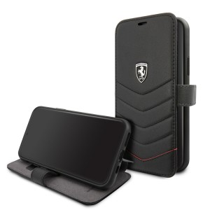 Ferrari Quilted Ledertasche / Book Case iPhone 11 Pro Schwarz FEHQUFLBKSN58BK