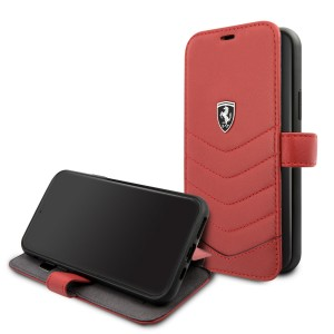 Ferrari Quilted Ledertasche / Book Case iPhone 11 Pro Rot FEHQUFLBKSN58RE