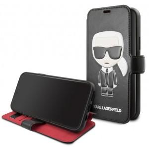 Karl Lagerfeld Ledertasche / Book Cover Karl Iconic iPhone 11 Pro Schwarz / Rot KLFLBKSN58FIKPUBK