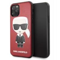 Karl Lagerfeld Iconic Karl Lederhülle iPhone 11 Rot KLHCN61IKPURE
