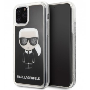 Karl Lagerfeld Iconic Double Layer Glitter Hülle iPhone 11 Pro Schwarz KLHCN58ICGBK