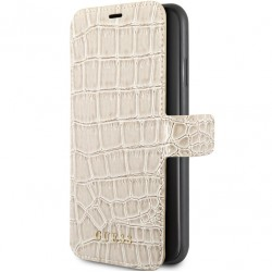 Guess Croco Ledertasche / Book Case für iPhone XS / X Beige