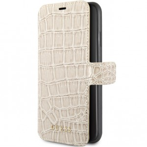 Guess Croco Ledertasche / Book Case für iPhone 11 Beige GUFLBKSN61CSCROBE
