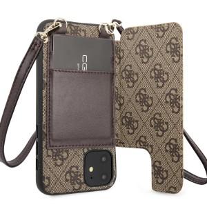 Guess iPhone 11 4G Crossbody Cardslot Hülle Schultergurt Braun