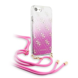 Guess iPhone SE 2020 / iPhone 8 / 7 4G ELECTROPLATED GRADIENT Hülle Schultergurt Pink
