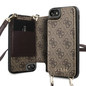 Guess iPhone SE 2020 / iPhone 8 / 7 4G Crossbody Cardslot Hülle Schultergurt Braun