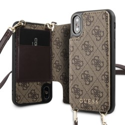 Guess 4G Crossbody Cardslot Hülle iPhone X / Xs Schultergurt Braun GUHCPXCB4GB