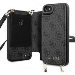 Guess iPhone SE 2020 / iPhone 8 / 7 4G Crossbody Cardslot Hülle Schultergurt Grau