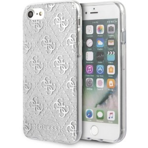 Guess iPhone SE 2020 / iPhone 8 / 7 4G Glitter Hülle Silber GUHCI8PCU4GLSI