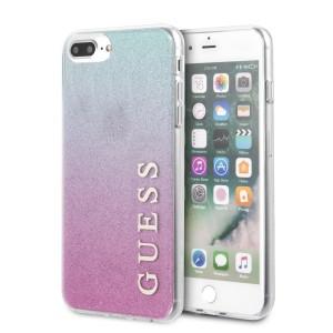 Guess Gradient Glitter Hülle iPhone 7 Plus / 8 Plus Pink / Blau GUHCI8LPCUGLPBL