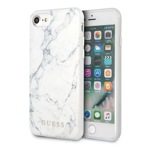GUESS iPhone 8 Plus / 7 Plus Cover / Case / Hülle Marble Weiß
