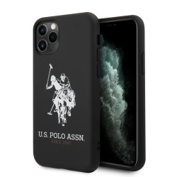 US Polo iPhone 11 Pro Max Hülle Logo Silikon Innenfutter Schwarz