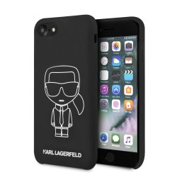 Karl Lagerfeld iPhone SE 2020 / 8 / 7 Silicon Iconic Hülle Innenfutter Schwarz