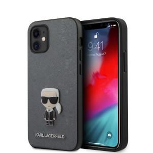 Karl Lagerfeld iPhone 12 mini 5,4 Schutzhülle Saffiano Ikonik Silber