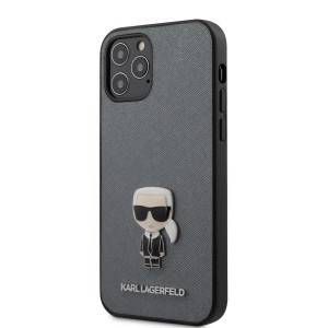 Karl Lagerfeld iPhone 12 / 12 Pro 6,1 Schutzhülle Saffiano Ikonik Metal Silber