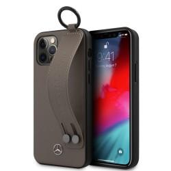 Mercedes iPhone 12 / 12 Pro 6,1 Lederhülle Strap Line + Ring Braun