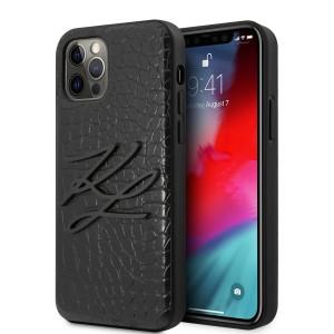 Karl Lagerfeld iPhone 12 / Pro 6,1 Croco Hülle schwarz