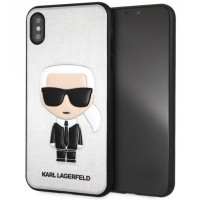 Karl Lagerfeld Silikon Cover / Hülle für iPhone Xs Max Silber