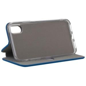 COMMANDER Tasche Book Case CURVE für Apple iPhone X / Xs Soft Touch Maritim Blue