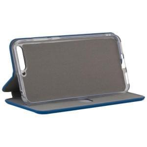 COMMANDER Tasche Book Case CURVE für Huawei Y6 2018 Soft Touch Maritim Blue