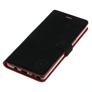 digishield FIRE Ledertasche aus Nubukleder für Samsung Galaxy S9 schwarz / rot