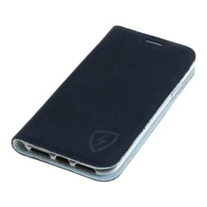 100% Echt Ledertasche mit RFID / NFC Schutz für Apple iPhone XS blau / weiß