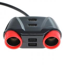 KFZ Adapter / Verteiler Zigarettenanzünder 2 x Kupplung + 4 USB 1,2m