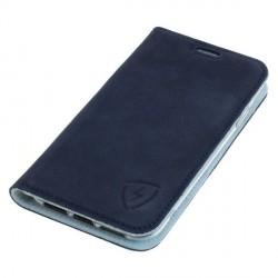 Blaue / Weiße Ledertasche mit RFID / NFC Schutz für iPhone 11 Pro