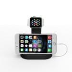 Uhr Stand Dual Tischladeständer für Apple Watch 38mm / 42mm & iPhone / Smartphone schwarz