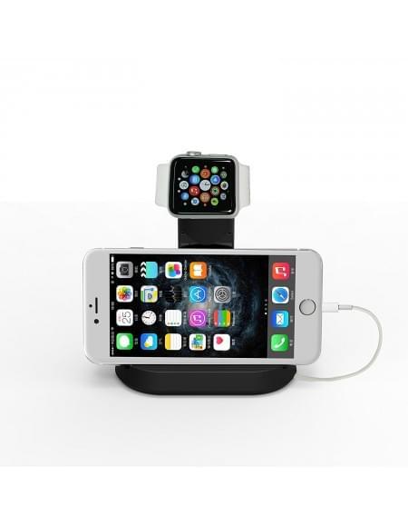 Apple Uhr Stand Dual Tischladeständer für Apple Watch 38mm / 42mm & iPhone / Smartphone schwarz