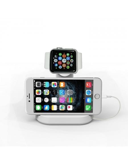Apple Uhr Stand Dual Tischladeständer für Apple Watch 38mm / 42mm & iPhone / Smartphone weiß
