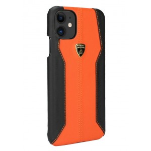 Lamborghini Lederhülle iPhone 11 Pro Schwarz / Orange