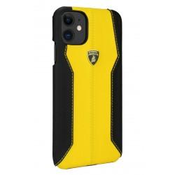 Lamborghini Lederhülle iPhone 11 Pro Schwarz / Gelb
