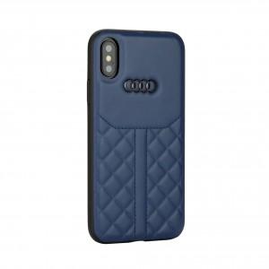 AUDI iPhone Xs / X Q8 Kollektion Hülle Case Cover Echtes Leder Blau