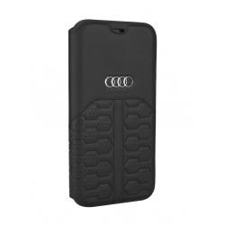 Audi iPhone 12 / 12 Pro Ledertasche Book Case A6 Serie Echtes Leder Schwarz